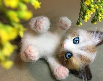 Kitten, Fluffy, Cat, Needel Felted Kitten by Marina Lubomirsky