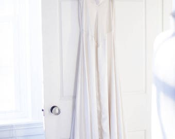 JONQUIL Cream Satin Nightgown., Full Length., Slinky Nightgown.