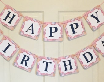 GIRLY PREPPY PLAID Happy Birthday or Baby Shower Party Banner - Party Packs Available