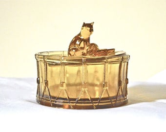 Portieux Vallerysthal Cat on Drum Covered Dish Amber Glass