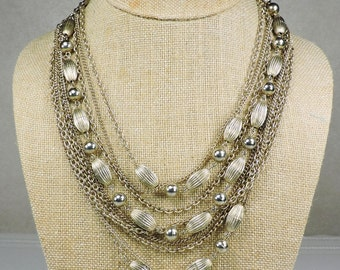 9 Strand Chain and Beaded Necklace, Mid Century