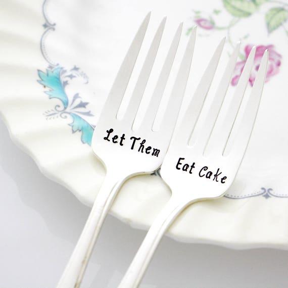 Hand stamped forks, Let Them Eat Cake, set of 2 dessert forks, handstamped vintage forks. French Country decor. By Milk and Honey