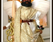 Male Christmas Angel, African American Drummer Man Tree Topper, Black Male Holiday Angel Treetop