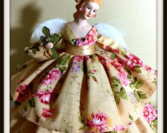 Angel Gift For Her On Mother's Day, Victorian Angel Tree Topper, Inspirational Porcelain Angel Doll, OOAK Handmade Angel Treetop,