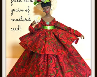Black Doll, Mustard Seed Faith Doll, African American, Porcelain Home Decor Accent, Gift For MOM, Mother's Day Gift, Inspirational Gift