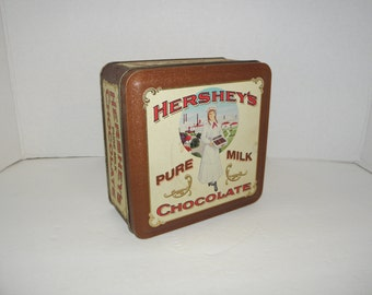 Shabby Hershey's Chocolate Collectible Square Tin Container Vintage Edition 2 in series