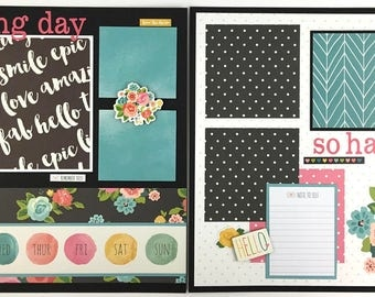 Pre-made Scrapbook Page Layout 2 pages 12x12 Friends Family Everyday Carpe Diem