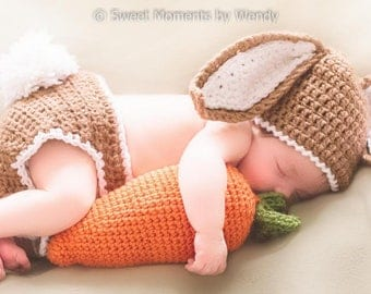 READY TO SHIP Newborn Easter Bunny Baby Costume / Photo Prop - Hat, Diaper Cover, Carrot - Boys, Girls, Baby's First