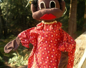 Vintage Little Black Girl Hand Puppet - Handmade African American Child in Red Calico Dress - Old Folk Art Doll in Pickaninny Hairdo - Topsy