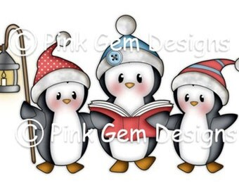 Digi Stamp 'Penguin Carols' . Makes Cute Christmas Cards.