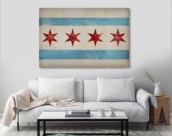 Free Shipping CHICAGO FLAG Canvas  Ready-toHang  - Stretched Canvas Wall Art  inches