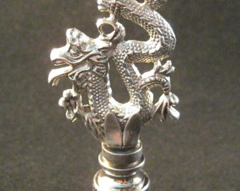 Lamp Finial-Antique Silver CHINESE DRAGON Lamp Finial-Satin Nickel Base
