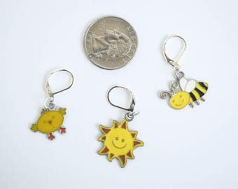 Springtime Progress Keeper Set Yellow Enamel Charms Chick Sun Bumble Bee Knitting Crochet Notions Zipper Pulls Gift Ideas