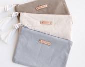 Gray Khaki Canvas Zipper Pouch Monogram Clutch