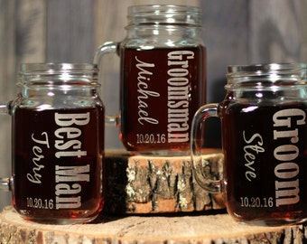 Mason Jar Wedding Set Gift for Groomsmen Best Man Custom Engraved Wedding Glasses - 16oz Mason Jars , ANY QUANTITY