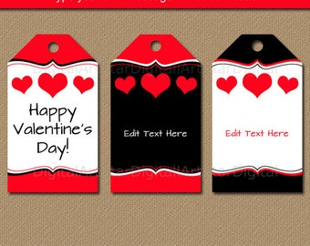 Valentines Day Tags - Heart Gift Tags - Valentine Gift Tags - Valentines Classroom Gifts - PRINTABLE Valentines Day Party Faovor Tags V6