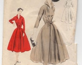 """1950's Vogue Special Design One-Piece Dress with Tie Front and High Collar Pattern - Bust 32"""" - No. s4331"""