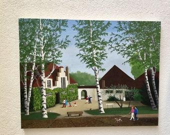 SALE Large Naive Folk Art Landscape Painting, France, signed