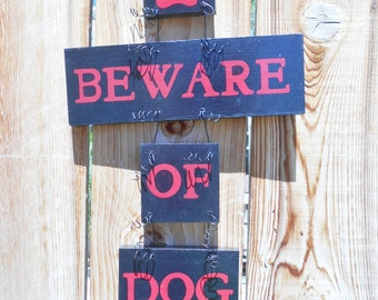 Beware of Dog Sign, Pet Decor, Beware of Dog Poop, Wood Dog Sign, Pet Sign, Painted Dog Sign, Dog, Yard Art, Handmade, Black and Red