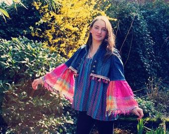 Bohemian Denim Jacket Cropped Size XXS - M Bell Sleeves Fringe Boho Hippie Gypsy Upcycled Clothing Recycled Eco Friendly OOAK