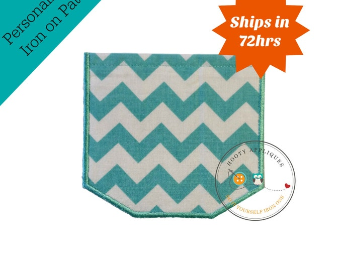 Faux pocket teal aqua chevron Iron embroidered fabric applique patch embellishment-ready to ship