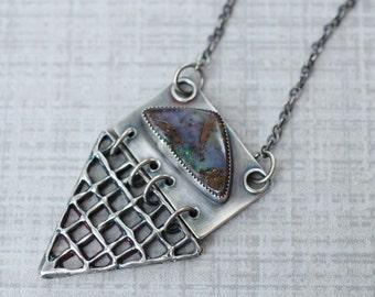 Boulder Opal Necklace, Statement Necklace, Lost Wax Casting, Australian Boulder Opal