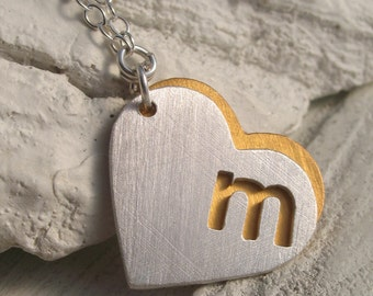 Personalized Initial Heart Necklace - Personalized Jewelry - Initial necklace - Monogram Jewelry - Gift for her - Bridesmaid - Mother's Day