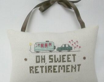 Retirement Hanging Mini Pillow Cross Stitch Cupboard Hanger
