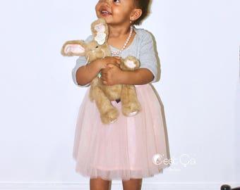 Claire - Blush Pink Baby Tulle Skirt, Flower Girl Skirt, Layered Princess Tutu, Soft Tulle Skirt, Pink Baby Tutu, Wholesale