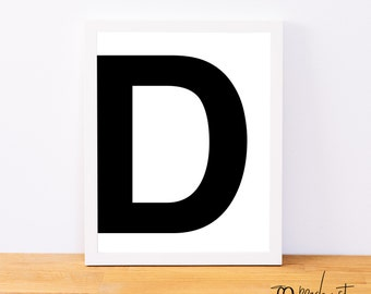 Letter D, Typography Print, Letter Print, Printable Monogram, Printable Art, Minimal Decor, Black and White Wall Art, Digital Download