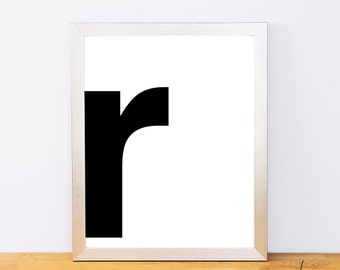 Lowercase Letter R, Typography Print, Printable Monogram, Printable Art, Minimal Decor, Black and White Wall Art, Digital Download