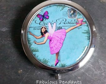 Compact Mirror Purse Mirror Pocket Mirror Handbag Mirror Dancing Lady Ballet in Blue  Bridesmaids Gift Platinum Bronze