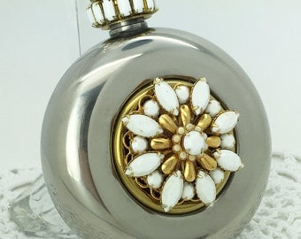 Gorgeous Round Flask Embellished with Vintage Jewels!  Wow! Nothing like it, one of a kind.  Classy, beautiful Flask, Great Gift Idea