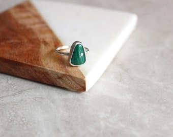 Malachite Ring, Sterling Silver Ring Size 6.5 US, Stone Ring