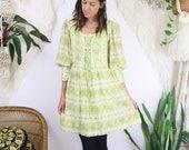 60s Hippie Dress, Green floral Mini dress, Lace up Balloon sleeves Summer Festival 60s Boho Bohemian Prairie, Small 3079