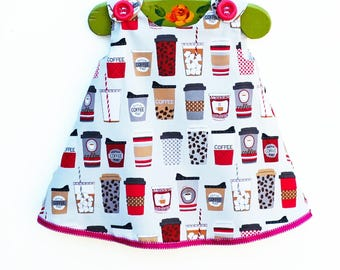 Coffee Dress - Baby Coffee Aline - Dinning Out Dress - Morning Mommy Coffee - Summer Girls Outfit - American Coffee- Children Dress