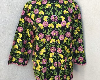 Vintage Boho embroidered black tunic floral pink yellow green sz L