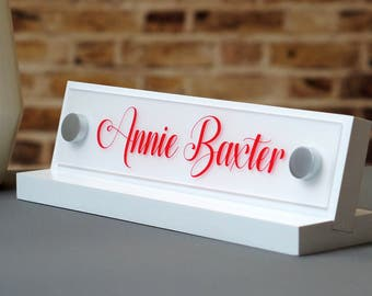 Office Accessories Decor: Desk Name Plate For Her Birthday Gift 10x2.5 inches