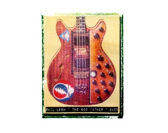 Grateful dead Phil Lesh bass guitar art print / music gift / rock n roll art / music room decor / guitar gift / man cave art