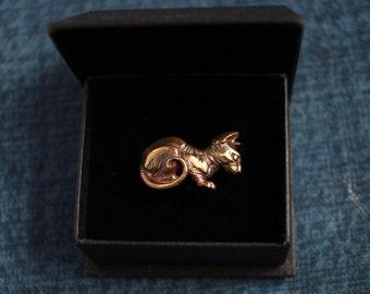 Sphynx cat, Brass Cuff Ring