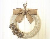 Burlap Wreath - Everyday Wreath - Ivory with Shimmery Gold Burlap Wreath - Burlap Wreath with Jute Flowers