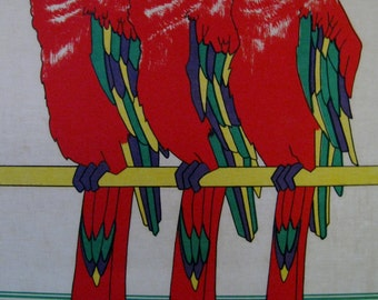 Mid Century Silk Screen 1978 Brandon House Designs Inc hand printed cotton by Donna Meyer stretched canvas wood frame modernism parrot macaw