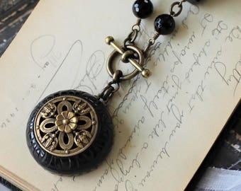 Black Bakelite Necklace, Super Size Carved Bakelite and Chunky Bead Necklace, Toggle Necklace, Upcycled Vintage Jewelry by veryDonna