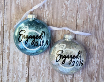Engagement Christmas Ornament, Personalized Engagement Gifts, Engagement Ornament, Engaged Ornament, Wedding Ornament, Just Engaged Gift