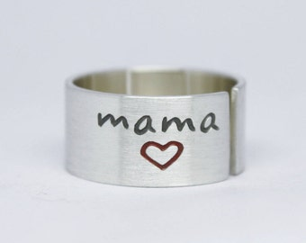 MOTHER'S DAY RING, Sterling Silver Ring. Adjustable Ring. Mom Ring, Hearts Ring. For Her.