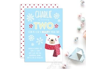 Winter Bear Birthday Invitations - Polar Bear Invitations