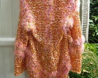 Handknit peach coat beach jacket vest summer kimono luminous golden apricot orange color 3D threads soft light flexible bohemian gypsy OOAK
