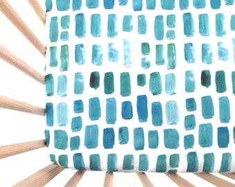 Crib Sheet Aquamarine Watercolor Mosaic. Fitted Crib Sheet. Baby Bedding. Crib Bedding. Minky Crib Sheet. Crib Sheets. Aqua Crib Sheet.