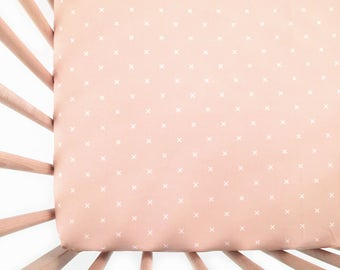 Crib Sheet Blush X. Fitted Crib Sheet. Baby Bedding. Crib Bedding. Crib Sheets. Blush Crib Sheet.