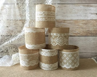 6 jar sleeves, ball quart size jar sleeves, ivory and cream color lace and natural color burlap, wedding, bridal shower, baby shower decor